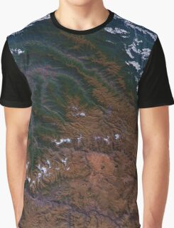 Machu Picchu and the Andes Mountains of Peru Satellite Image Graphic T-Shirt