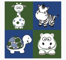 Baby Animals One Piece - Short Sleeve