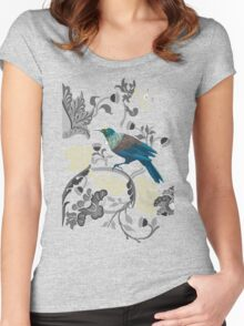 Flowers & Tui - Grey Women's Fitted Scoop T-Shirt