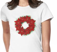 Poinsettia Wreath Womens Fitted T-Shirt