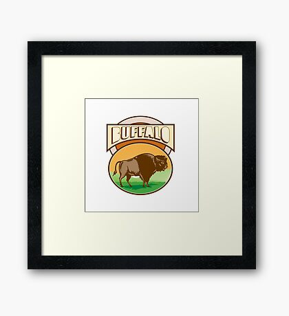 American Bison Buffalo Oval Woodcut Framed Print