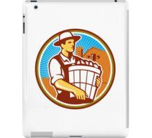 Organic Farmer Harvest Basket Circle Retro iPad Case/Skin
