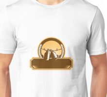 Growler Clothesline Picket Fence Circle Woodcut Unisex T-Shirt