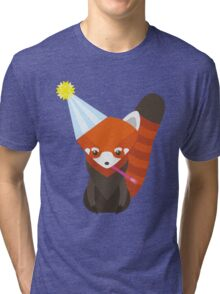 Party Hat Red Panda Vector Tri-blend T-Shirt
