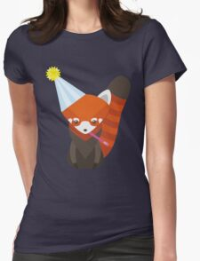 Party Hat Red Panda Vector Womens Fitted T-Shirt