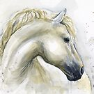 Horse Watercolor Painting by Olga Shvartsur