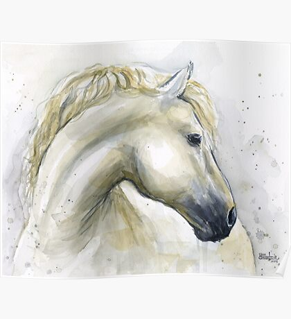 Horse Watercolor Painting Poster