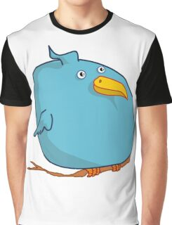 Fat Blue Bird (Cartoon Art) Graphic T-Shirt