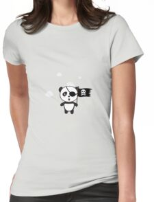 Pirate Panda with Flag Womens Fitted T-Shirt