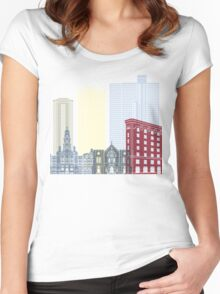 Fort Worth skyline poster Women's Fitted Scoop T-Shirt