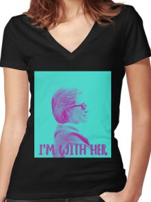 I'm With Her. Women's Fitted V-Neck T-Shirt