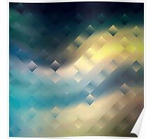 Abstract pattern blue green yellow. Poster