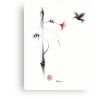 Sweetness - Hummingbird & Flower Painting Canvas Print