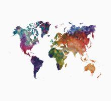 World map in watercolor 26 Kids Tee