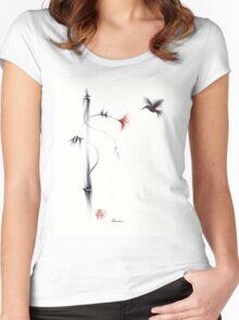 Sweetness - Hummingbird & Flower Painting Women's Fitted Scoop T-Shirt