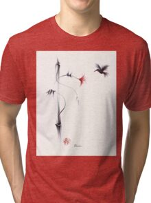 Sweetness - Hummingbird & Flower Painting Tri-blend T-Shirt