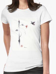 Sweetness - Hummingbird & Flower Painting Womens Fitted T-Shirt