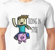 Minecraft Steve Rinding a Pig! Unisex T-Shirt
