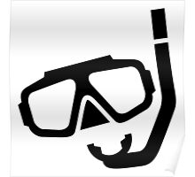 Diving Mask Silhouette (Snorkels) Poster