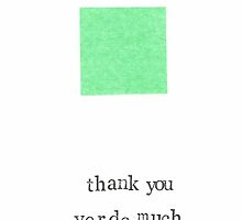 Thank You Verde Much Simple Minimalist Card by bluespecsstudio