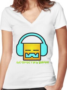Geometry Dash Women's Fitted V-Neck T-Shirt