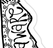 Hipster University of Delaware Outline Sticker