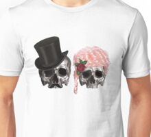 skull couple tall hat pink hair rose Unisex T-Shirt