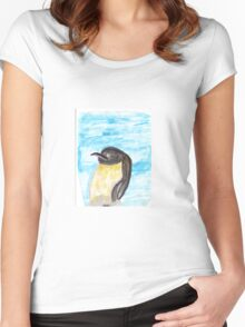 Watercolor Penguin Women's Fitted Scoop T-Shirt