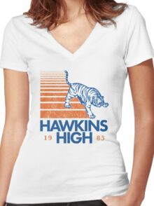 hawkins high Women's Fitted V-Neck T-Shirt