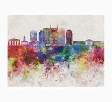 Nashville V2 skyline in watercolor background One Piece - Short Sleeve
