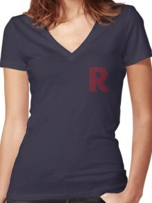R Red Lines Women's Fitted V-Neck T-Shirt