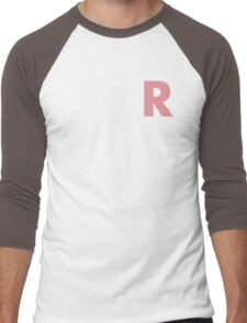 R Red Lines Men's Baseball ¾ T-Shirt