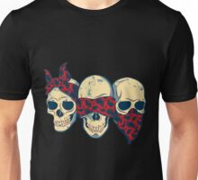 skull scarf see hear speak no evil hope art Unisex T-Shirt