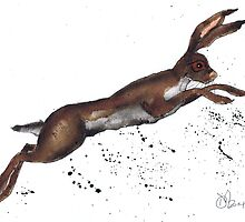 LEAPING HARE by Hares & Critters