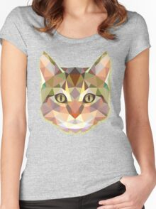 Geometric Cat In Town Women's Fitted Scoop T-Shirt