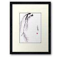 Japanese sumi e style original pine design by Henrik Lee Framed Print