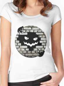 Brick Wall Scary Face Women's Fitted Scoop T-Shirt