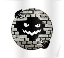 Brick Wall Scary Face Poster
