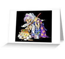 Black Halloween Purple Witch Greeting Card