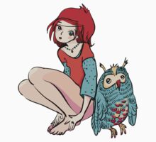 Girl with red hair and her friend Owl Kids Tee