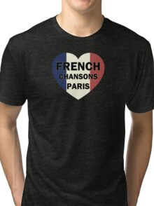 French chansons paris heart Tri-blend T-Shirt