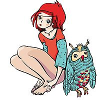 Girl with red hair and her friend Owl by kite-kit