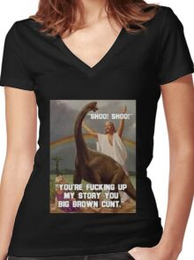 Big Brown Cunt Jesus Women's Fitted V-Neck T-Shirt