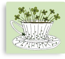 Lucky Cup of Clovers Canvas Print