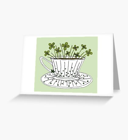 Lucky Cup of Clovers Greeting Card