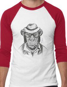 Hipster monkey with hat Men's Baseball ¾ T-Shirt