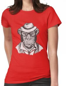 Hipster monkey with hat Womens Fitted T-Shirt