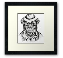 Hipster monkey with hat Framed Print