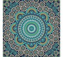Paisley Mandala Blue Yellow Photographic Print