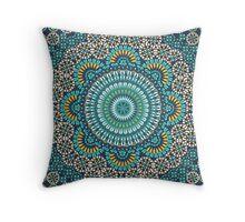 Paisley Mandala Blue Yellow Throw Pillow